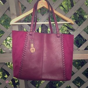 Faux braided leather/microfiber tote